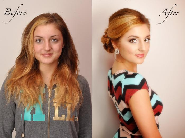 Before After Transformation Wedding Prom Ball Special Occasion Blonde Hair updo